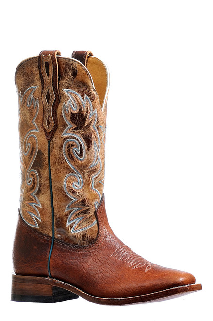Men's Boulet 6325 Brown and Tan with Wide Square Toe and Stockman Heel