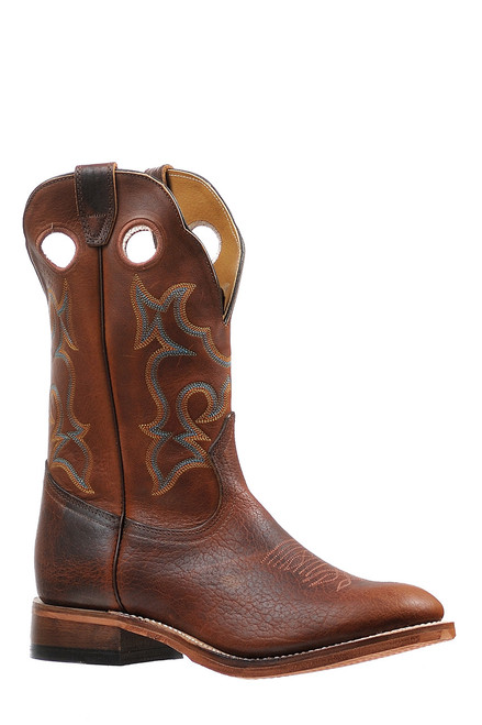 Men's Boulet 6327 Brown with Deep Scallop, Rubber Sole, Full Round Toe, and Roper Heel