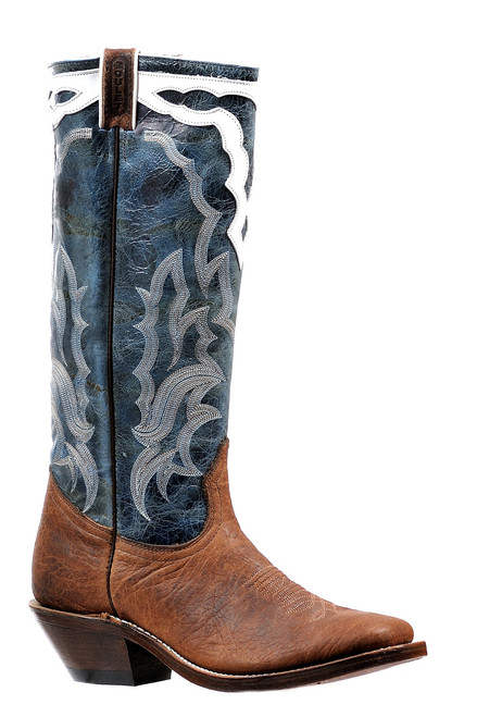 Men's Boulet 6335 Brown and Blue Stovetop with Wide Square Toe and Horseman Heel