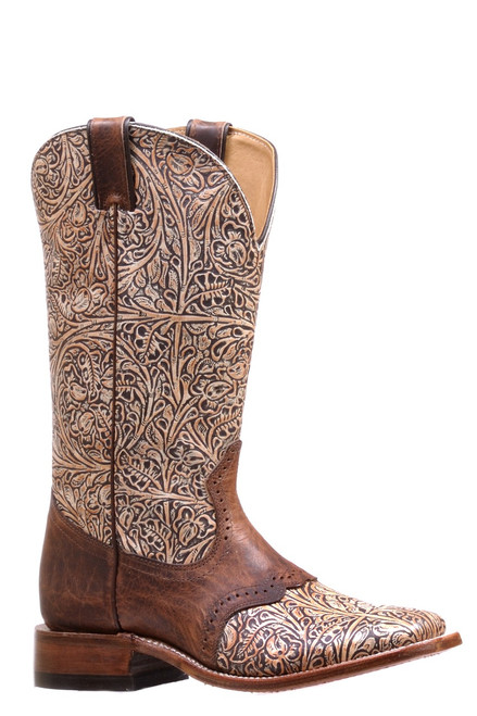 Women's Boulet 7045 Embossed Tan with Saddle Vamp, Wide Square Toe, and Stockman Heel