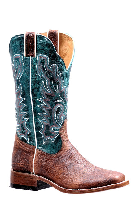 Women's Boulet 7212 Brown and Turquoise with Wide Square Toe and Stockman Heel