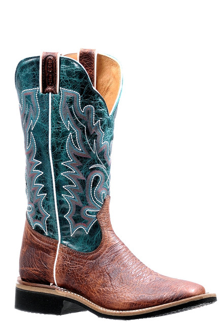 Women's Boulet 7266 Brown and Turquoise Extralight with Rubber Sole, Wide Square Toe, and Stockman Heel