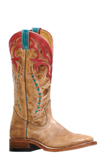 Women's Boulet 8236 Tan with Turquoise and Red Accents, Wide Square Toe, and Stockman Heel