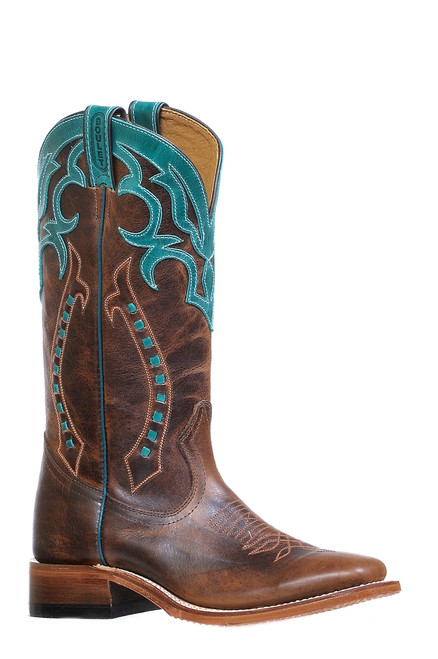 Women's Boulet 8294 Chocolate with Turquoise Accents, Wide Square Toe, and Stockman Heel