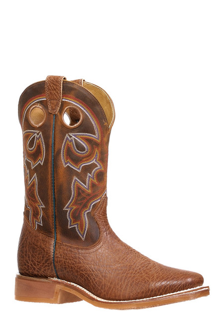 Men's Boulet 8308 Brown with Rubber Sole, Wide Square Toe, and Stockman Heel