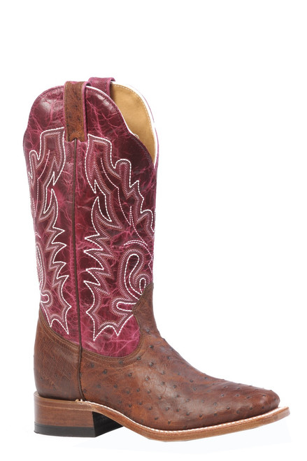 Women's Boulet 3520 Copper and Magenta Full Quill Ostrich with Wide Square Toe and Stockman Heel