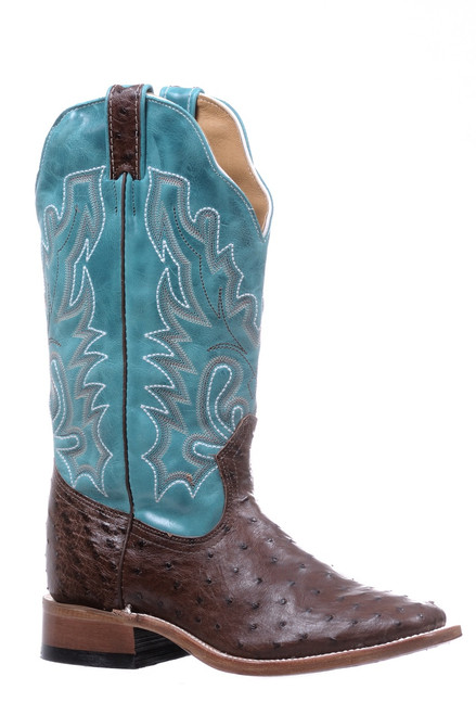 Women's Boulet 5508 Chocolate and Turquoise Full Quill Ostrich with Wide Square Toe and Stockman Heel