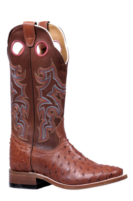 Women's Boulet 5510 Cognac Full Quill Ostrich with Wide Square Toe and Stockman Heel
