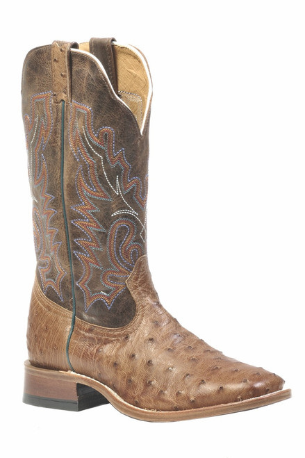 Men's Boulet 1503 Tan Full Quill Ostrich with Wide Square Toe and Stockman Heel