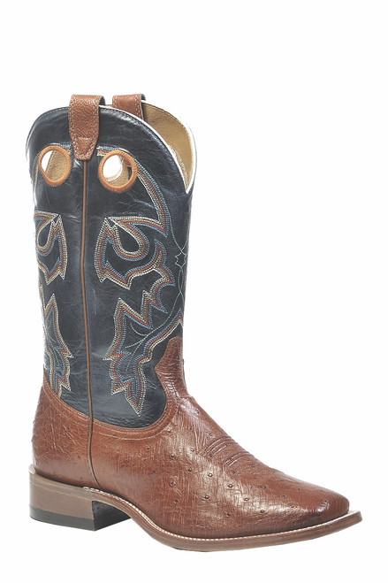 Men's Boulet 9523 Brown and Blue Smooth Ostrich with Wide Square Toe and Stockman Heel