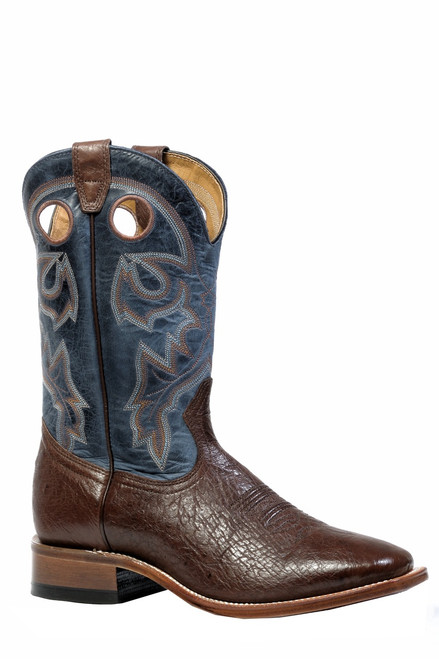 Men's Boulet 4506 Chocolate and Blue Smooth Ostrich with Wide Square Toe and Stockman Heel