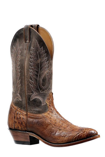 Men's Boulet 6553 Brown Smooth Ostrich with Medium Cowboy Toe and Cowboy Heel