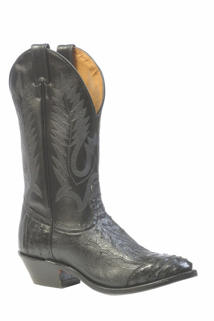 Men's Boulet 1513 Black Smooth Ostrich with Medium Cowboy Toe and Cowboy Heel