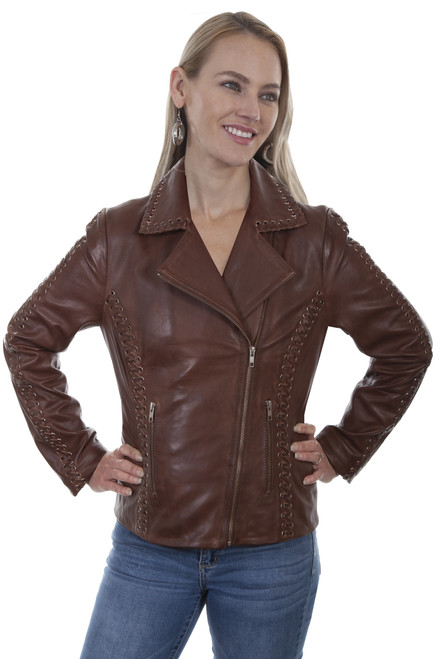 Women's Scully L1030 Lamb Motorcycle Jacket with Grommets