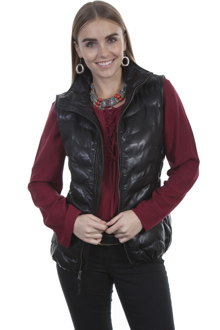 Women's Scully L621 Ribbed Leather Vest