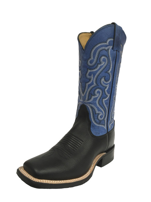 Women's Nocona 0205L Black and Purple with Rubber Sole, Square Toe, and Tapered Heel