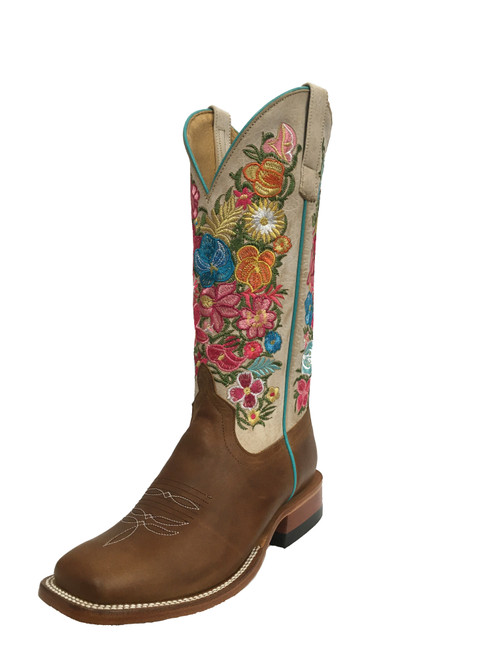 Women's Macie Bean M9155 Cognac and Bone with Wide Square Toe and Roper Heel