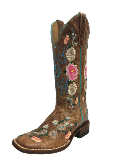 Women's Macie Bean M9012 Honey and Flowers with Wide Square Toe and Roper Heel