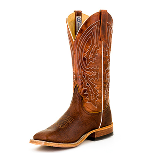 Men's Anderson Bean S1105 Chocolate and Rust Bison with Hybrid Sole, Wide Square Toe, and Roper Heel