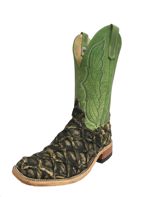 Men's Anderson Bean 8418 Brown Raven Arapaima with Wide Square Toe and Roper Heel