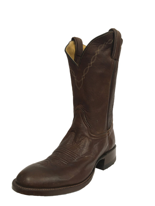 Men's Honcho Chocolate Elk with Wide Square Toe and Roper Heel