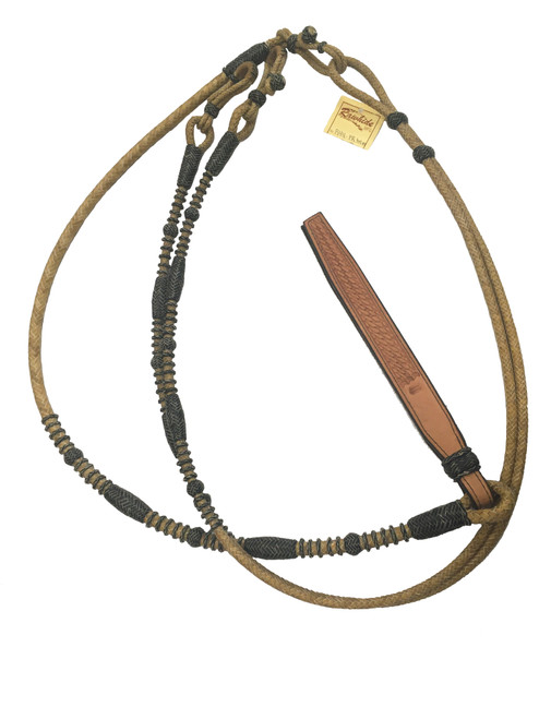 Rawhide Manufacturing R44-PR Rawhide Reins with Black Accents