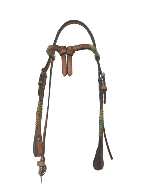 Rawhide Manufacturing BB-18T Headstall with Braided Rawhide Split Browband with Turquoise Accents