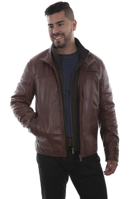 Men's Scully 1021 Leather Jacket with Quilted Front Inset
