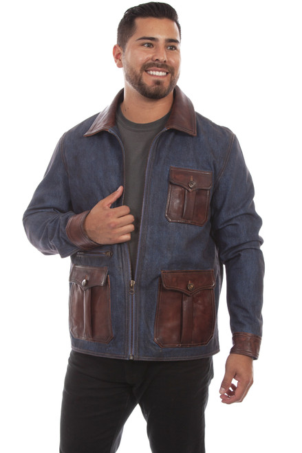 Men's Scully 1068 Denim and Leather Trim Jacket