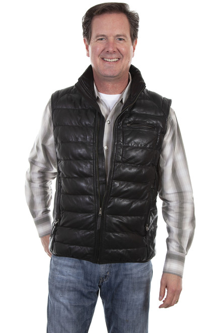 Men's Scully 619 Ribbed Leather Vest
