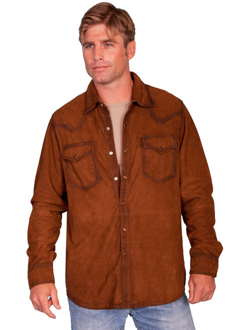 Men's Scully 78 Western Lamb Suede Pearl Snap Shirt