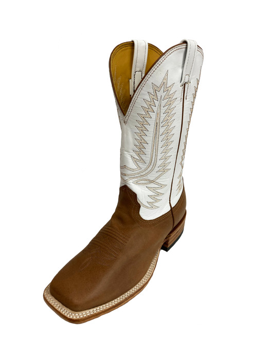 Men's Fenoglio 1230 Tan and White Bullhide with Wide Square Toe and Walking Heel
