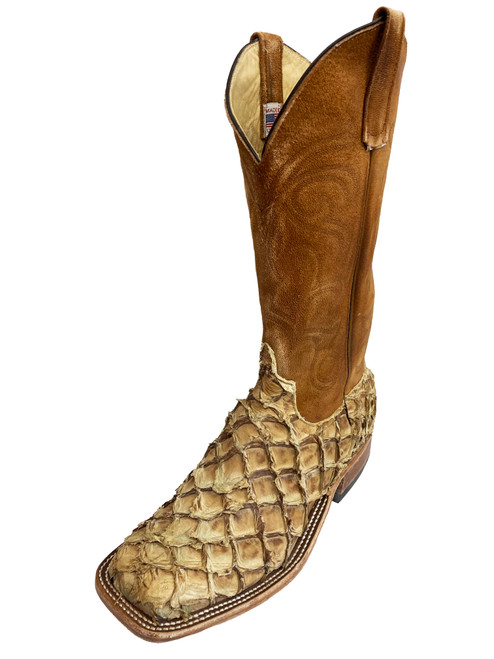 Men's Anderson Bean 3604 Tan Arapaima with Wide Square Toe and Roper Heel
