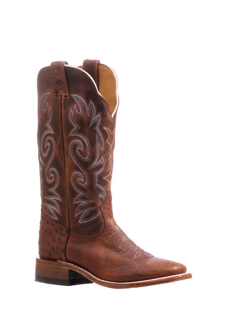 Women's Boulet 5523 Brown Smooth Ostrich with Wide Square Toe and Stockman Heel