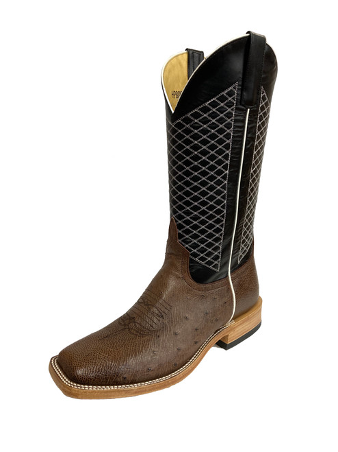 Men's Horsepower HP8009 Brown and Black Smooth Ostrich with Wide Square Toe and Roper Heel