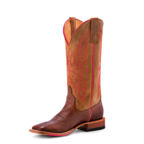 Women's Macie Bean M9136 Brown and Pink with Hybrid Sole, Wide Square Toe, and Roper Heel