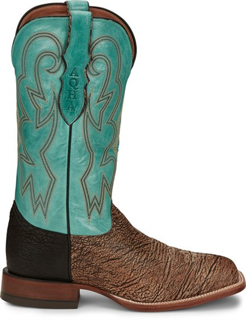 Men's Justin 7063 Tan and Turquoise Zulu Goat with Square Toe and Block Heel