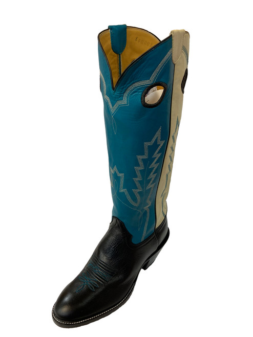 Men's Honcho Black, Turquoise, and White Buckaroo with Wide Round Toe and Riding Heel