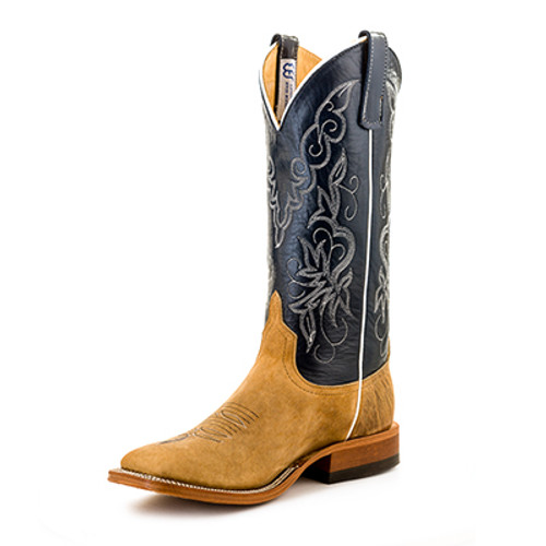 Men's Anderson Bean S1107 Navy and Tan Bison with Wide Square Toe and Roper Heel