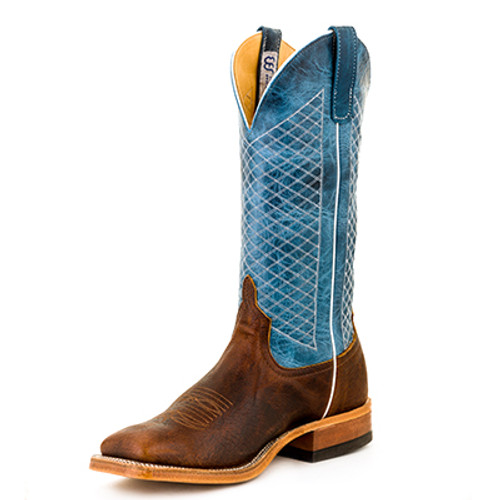 Men's Anderson Bean S1116 Blue and Chocolate Bison with Wide Square Toe and Roper Heel