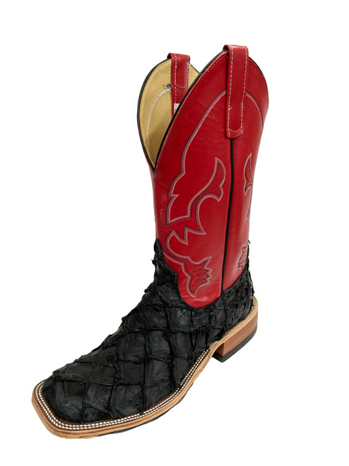 Men's Anderson Bean 0327 Black Arapaima with Hybrid Sole, Wide Square Toe, and Roper Heel