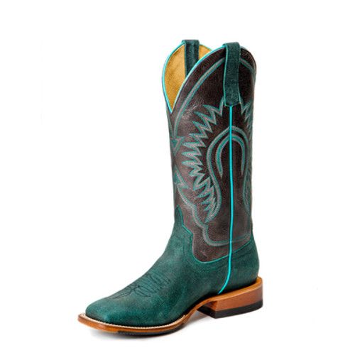 Women's Macie Bean M9158 Turquoise and Black Suede with Hybrid Sole, Wide Square Toe, and Roper Heel
