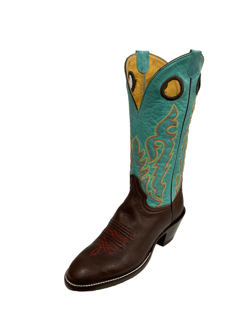 Women's Honcho Chocolate and Turquoise Elk with Round Toe and Riding Heel