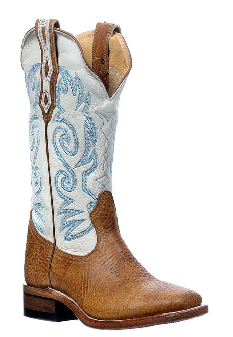 Women's Boulet 0319 Tan and White Bullhide with Wide Square Toe and Stockman Heel