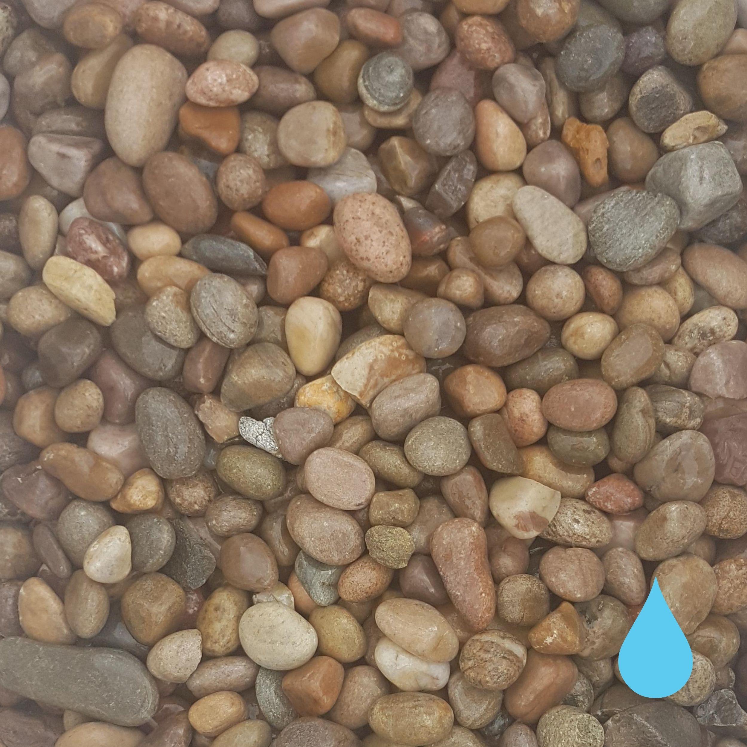 scottish beach pebbles wet 30mm 50mm mitchell turf