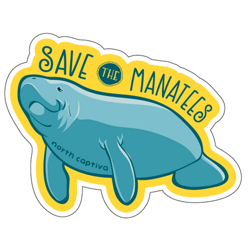 Wood Sticker - Save the Manatees