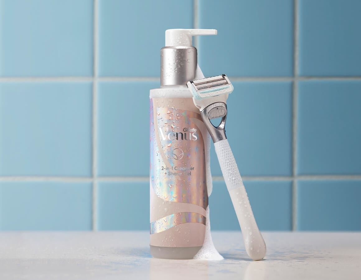 2-in-1 Cleanser and Shave Gel provide a protective layer of glide to help prevent shaving irritation