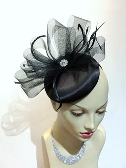 Adianne Satin Fascinator/cocktail hat (red and green only)