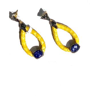 Yellow Oblong Earrings