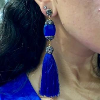 Electric Blue Tassel Earrings